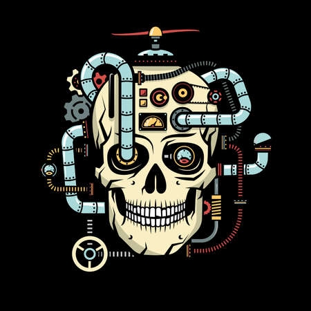 Schedel met geïmplanteerde steampunk-elementen - buizen, kabels, apparaten, sensoren, mechanismen. Vectorillustratie op een zwarte achtergrond.