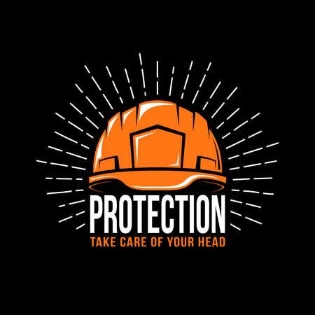 Embleem met een werkende helm, zonnestraal en de woordbescherming op een zwarte achtergrond. Vector illustratie. Stock Illustratie