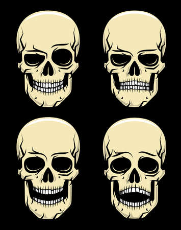 Four emotions cartoon colored skull on a black background - smile, anger, laughter, fear. Vector illustration.