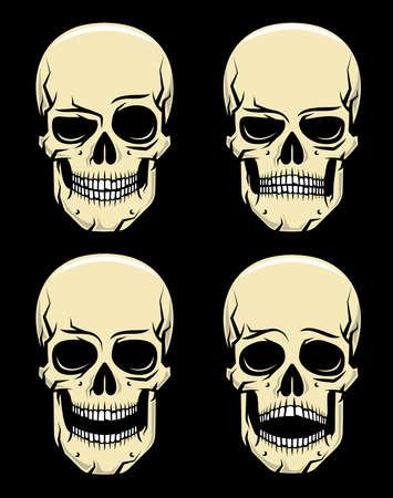 Quatre émotions dessin animé crâne coloré sur un fond noir - sourire, colère, rire, peur. Illustration vectorielle Vecteurs