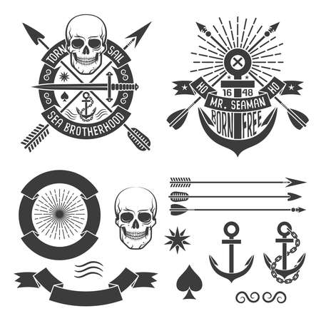 Marine hipster tattoo emblem with skull, arrows, anchor, ribbon and inscription. As well as separate elements for design. Vector illustration.