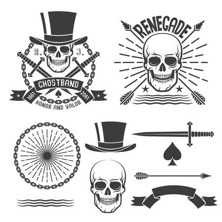 Hipster renegade logos with skulls and elements to them. Vector illustration.