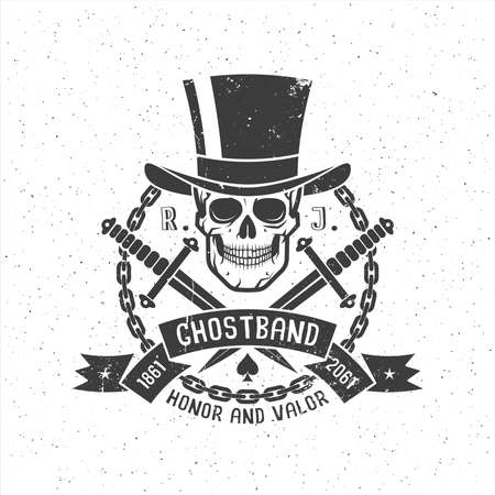 Hipster retro tattoo logo with skull in cylinder hat with daggers, ribbon and chain. Grunge texture on separate layers and can be disabled. Illustration