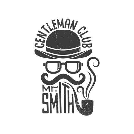 Hipster heren clublogo. Bolhoed, bril, snor en pijp. Vector illustratie. Versleten textuur op een afzonderlijke laag en kan gemakkelijk worden uitgeschakeld.