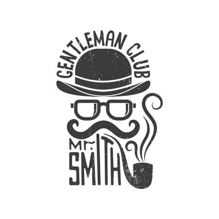 Hipster gentlemen club logo. Bowler hat, glasses, mustache and pipe. Vector illustration. Worn texture on a separate layer and can be easily disabled.