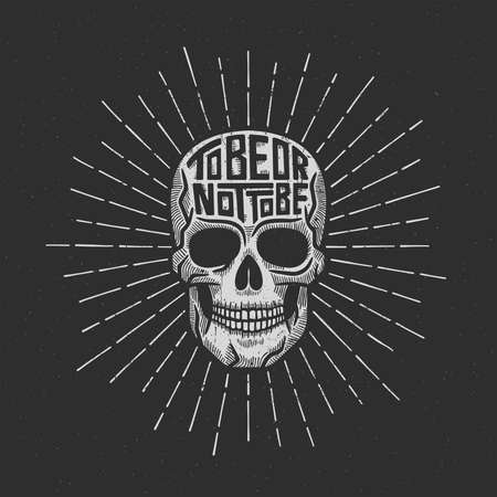 Skull retro lettering to be or not to be with sunburst. Textures on separate layers and can be easily disabled.