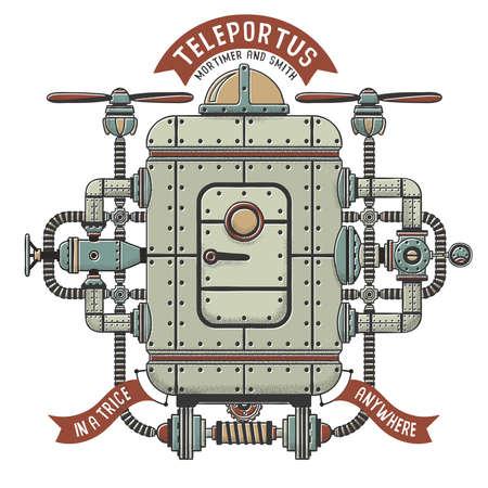 Steampunk fantastische machine voor teleportatie. Apparaten die met pijpen, kabelsapparaten verweven zijn. Schaduw, omtrek, kleur op afzonderlijke lagen.