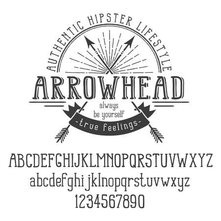 Hipster retro logo with crossed arrows and ribbon. And also the alphabet. Vector illustration. Illustration