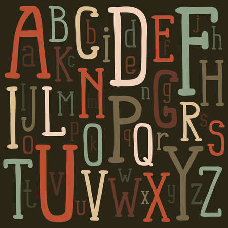 Original alphabet of colored letters of different sizes on a dark background. Vector illustration.