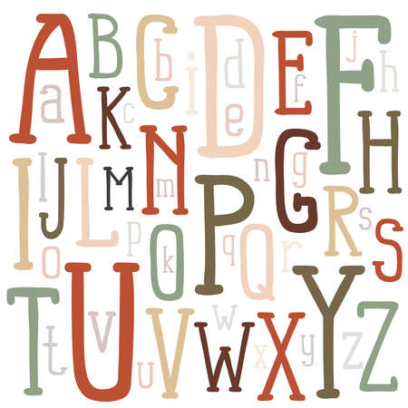 Multicolored letters of the alphabet of different sizes inscribed in a rectangular poster. A unique font drawn by hand. Vector illustration. Illustration