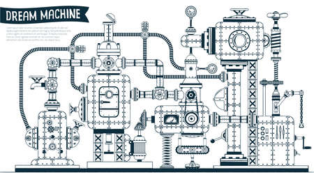 Complex  fantastic steampunk machine or apparatus with many elements, pipes, wires, valves. Drawn in contours in the doodle style. Vector illustration. Vettoriali