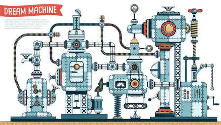 複雑な素晴らしいスチーム パンクなマシン - 影のカラー バージョン。ベクトルの図。含まれている影のブラシ。