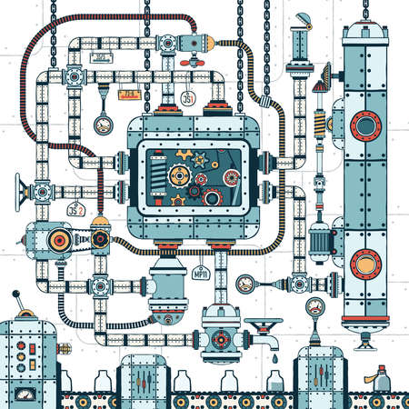 A fantastic complex steampunk machine made of interlocking pipes, cables, devices and accessories. Conveyor for filling bottles with liquid. Colored Vector illustration. Иллюстрация