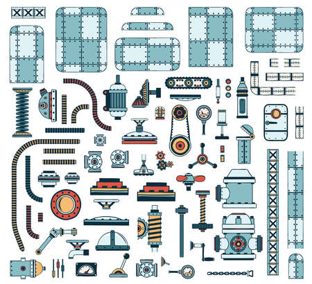 A large set of colored industrial spare parts to create steampunk machines and apparatus. Vector illustration. Иллюстрация