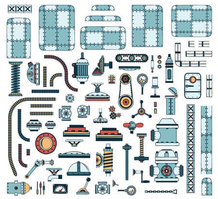 steampunk 기계 및 장치를 만들기위한 유색 산업용 예비 부품의 대형 세트. 벡터 일러스트 레이 션. 일러스트