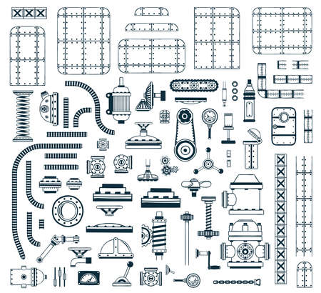 A set of monochrome steampunk spare parts for creating a robot, machine, device or apparatus. Vector illustration.