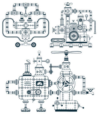 Fantastic industrial monochrome device set in a doodle style. Easy to disassemble into individual parts. Possible to collect other machines, as well as color them. Illustration