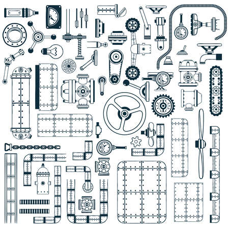 aftermarket: Spare parts for building machines, devices, apparatus in doodle style. Monochrome vector illustration.