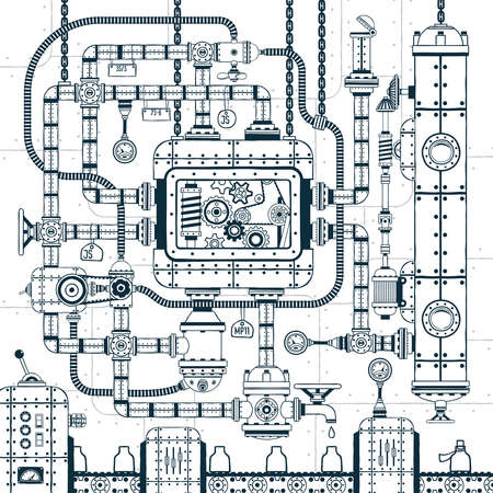 Complex industrial automatic conveyor machine. Interlacing of pipes, mechanisms, devices in doodle style. Vector illustration. Illustration