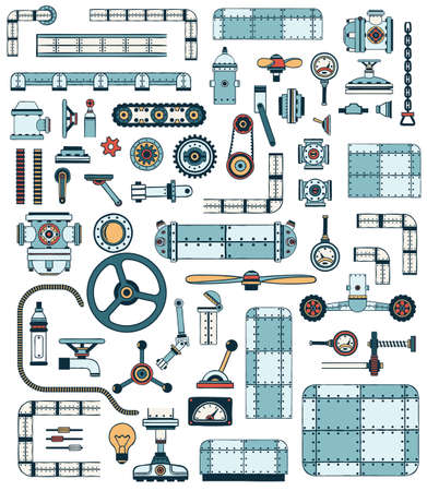 A Machinery elements. Spare parts for creation of technically complex devices, apparatuses. Colored Vector illustration.