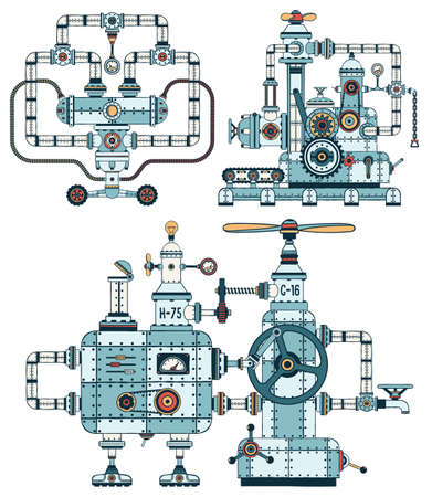 Intricate metal machines with pipes, mechanisms, technical elements in steampunk style. Details are grouped separately, so that the structures can be disassembled and assembled differently. Ilustrace