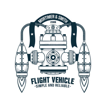 Fantastic flying machine with jet propulsion. Vector doodle illustration. Shadows on separate layer - easy to disable. Illustration