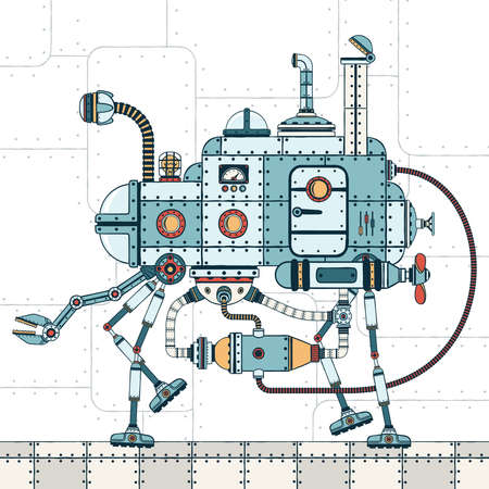 Walking metal machine, with various pipes, hoses, devices and with  mechanical arm. On an industrial background. Color vector illustration of a steampunk style.
