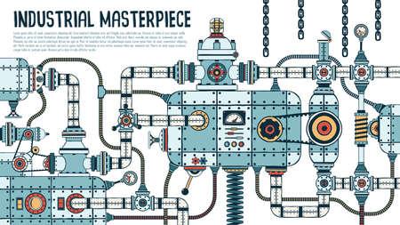 Increíble máquina industrial compleja con tuberías, válvulas, mangueras, mecanismos, aparatos. Las piezas de repuesto se agrupan por separado: puede desmontarlas y armarlas de manera diferente. Ilustración de vector