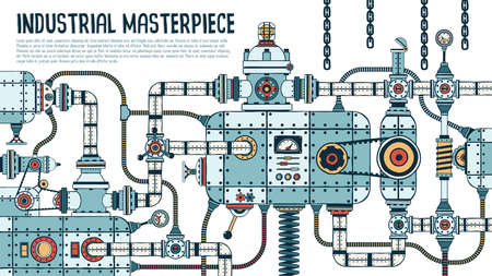 Incredible complex industrial machine with pipes, valves, hoses, mechanisms, apparatus. Spare parts are grouped separately - you can disassemble and assemble differently.
