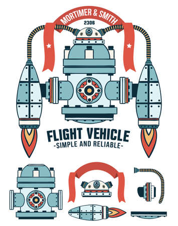 Fantastic flying machine as a logo with ribbon and inscriptions. Spare parts are included. Colored Vector illustration.