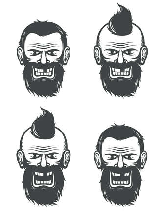 Evil face of a bearded man with an open and a closed mouth. Vector black and white illustration. Illustration