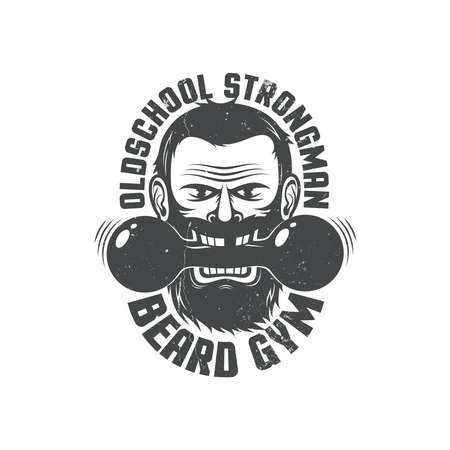 Logo for brutal fitness club. Bearded man with dumbbell in his teeth and inscriptions around. Grunge texture on a separate layer and can be easily disabled.