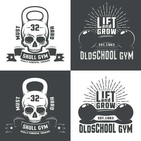 Logos for  athletic fitness club, or a retro-style gym. Skull in the form of a weight. Vintage dumbbell with inscriptions and sunburst. Illustration
