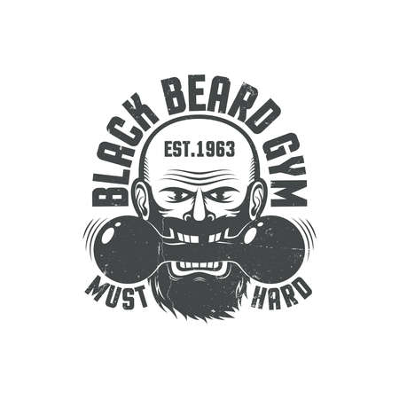 Black beard gym - grunge logo. Worn texture on a separate layer and can be easily disabled. Illustration