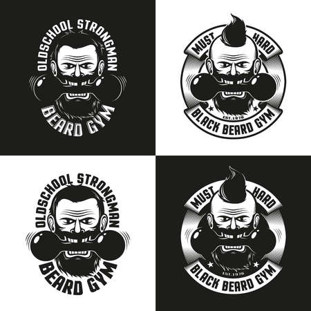 Logos of the athletic club in retro style. Bearded aggressive man with dumbbells. Vector illustration.