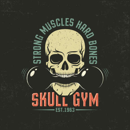 Vintage color emblem with a skull and dumbbell. Grunge texture on separate layers and can be easily disabled. Illustration