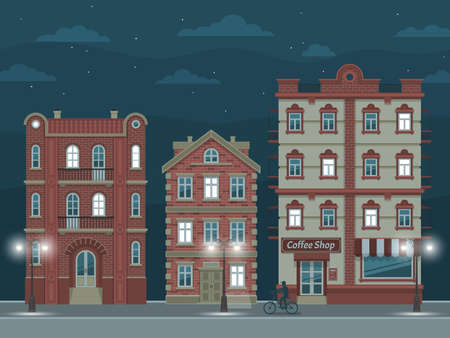 Night street with vintage houses, illuminated by streetlights.  Vector illustration easy to rebuild. Illustration
