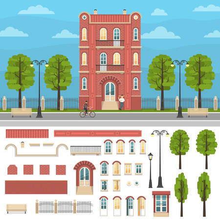 Design set for buildings, houses creating.  Parts of brick walls, roof, facade. Windows, balconies and doors. Elements of the street environment.