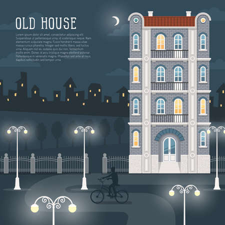 Night cityscape. An old four-story brick house, a path illuminated by street lamps, the silhouette of a bicyclist. In the background, city lights. Illustration is convenient for rearrangement. Illustration