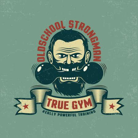 체육관 복고풍 상징입니다. 빈티지 아령와 리본 수염을 가진 남자입니다. 별도 레이어에 그런 지 텍스처 쉽게 비활성화됩니다. 일러스트