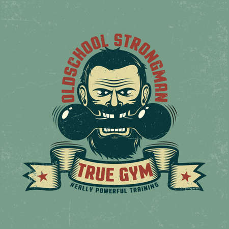 Retro emblem for the gym. Bearded man with a vintage dumbbell and ribbon. Grunge textures on a separate layer and easily disabled.