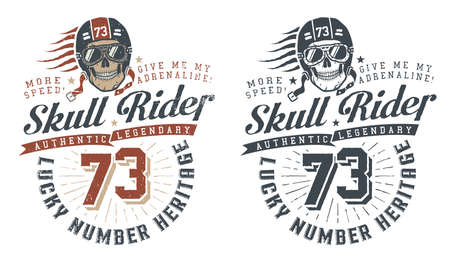 Skull rider in helmet with words in vintage style. Retro hipster emblem, concept. Vector illustration. Worn texture on a separate layer and can be easily disabled.