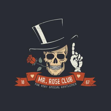 Schedel met roos bloem en klassiek hoofd met lint en meneer Rose club woorden.