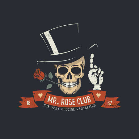 Skull with rose flower and classic head with ribbon and Mr. Rose club words. Çizim