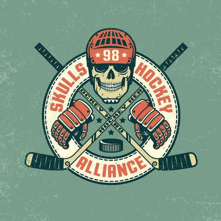 Hockeylogo, poster met schedel, in retro-kleuren. De textuur van Grunge op afzonderlijke laag en kan gemakkelijk worden uitgeschakeld.