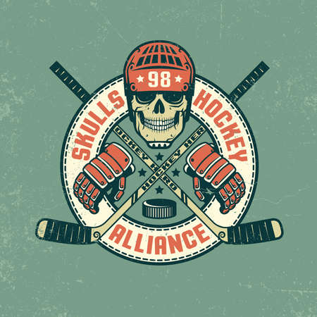 Hockey logo, poster with skull, in retro coloring. Grunge texture on separate layer and can be easily disabled.