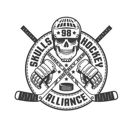 Vintage monochroom hockey embleem met een schedel, stokken, handschoenen en een cirkelvormig lint. Vector illustratie.