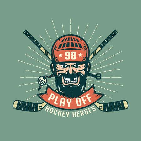 수염 된 하 키 선수, 교차 막대기와 햇살 레트로 플레이 오프 로고. 별도의 레이어에 질감을 착용하고 쉽게 비활성화 할 수 있습니다.