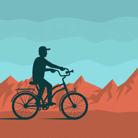 Lonely silhouette of a cyclist on a background of red mountains and blue sky. Vector illustration in retro style. Dots on separate layer, and easily deactivated.