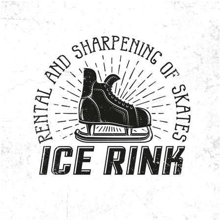 アイス スケート リンクの紋章としてレトロなホッケーのスケート。グランジは、別のレイヤーにテクスチャし、簡単に無効します。